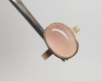 Rose quartz gemstone 14k gold filled ring