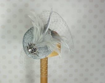 Grey Silver Birdcage Veil Fascinator Crystal brooch Feather Mount Races netting Wedding hair comb net pewter bridal bride vintage retro