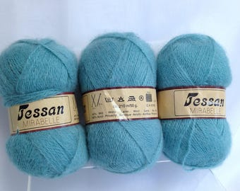 Jessan Mirabelle Vintage Wool Yarn Bundle of Yarn Made in Holland, Turquoise Green Yarn for Fiber Art Projects, Luxury Art Yarn Bundle