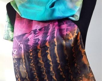 Silk scarf in multicolour made in Shibori tecnic