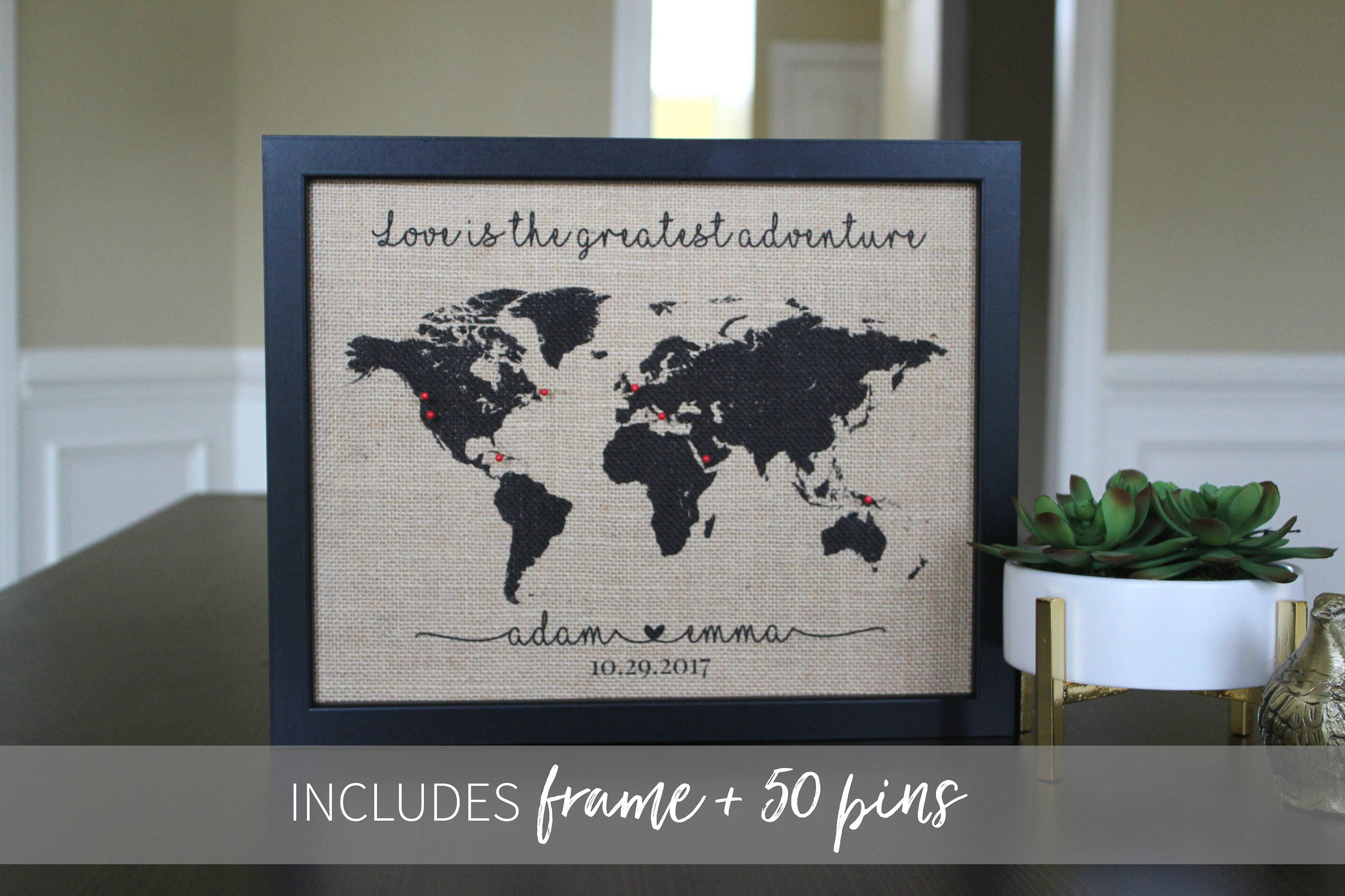Framed push pin travel map travel gift anniversary gift framed push pin travel map travel gift anniversary gift graduation gift wanderlust gumiabroncs Choice Image