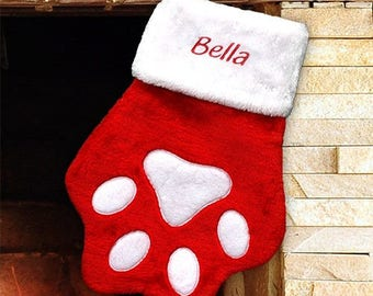 Embroidered Red Paw Christmas Stocking, Pet Stocking, Personalized Embroidered Red Paw Christmas Stocking