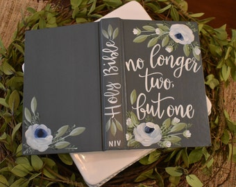 Hand Painted Bible | Wedding Guestbook | No longer two but one | Personalized | Wedding Gift | Home Decor Keepsake