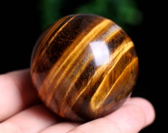 Natural Tiger's Eye Quartz Crystal Sphere Ball Great Shine Healing , Wiccan Pagan Crystal J961