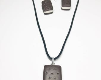 Ice Cream Sandwich Earring Necklace Set - Gift - Birthday - Anniversary - Polymer Clay