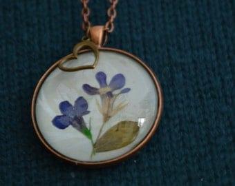 Pressed Flower Pendant, Lobelia, Blue Flower, Pressed Flower Jewelry, Heart Charm, Bridesmaid, Mother Day, Gardener Gift