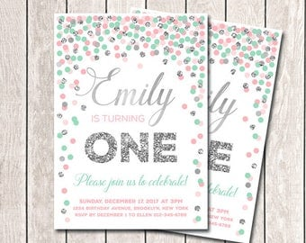 Pink Mint Silver Birthday Invitation First Birthday Invitation Pink Mint Girl Birthday Invitation Any Age Printable Confetti Invitation