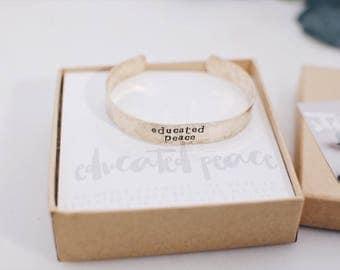 Educated Peace Gold Cuff Bracelet