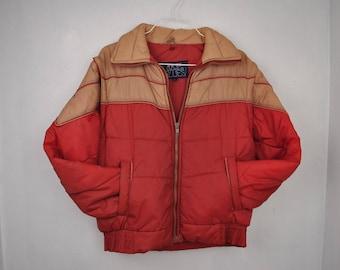 US blues Kid's puffy orange jacket // vest winter ski coat // medium large