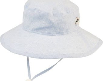Child's Sun Protection 100% Linen Sunbaby Hat - Summer Day Linen in Sky Blue Check (6 month, xxs, xs, s, m)