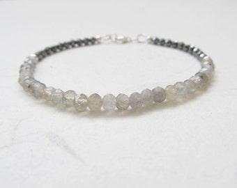 Labradorite bracelet, fine bracelet, hematite bracelet, gemstone bracelet, yoga bracelet