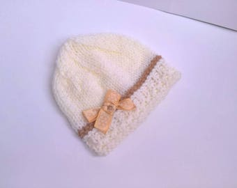 BEANIE baby 0/3 months ecru bllanc off taupe hand knitting, baby wool baby booties