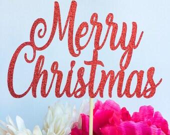 Merry christmas cake topper | Christmas cake topper | Holiday cake topper | Holiday decor | Happy holidays | Cake topper