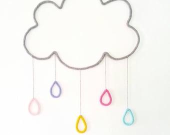 Rain Cloud Nursery, Cloud Nursery Decor, Cloud Wall Decor, Rainbow Nursery Art, Cloud Wall Hanging, Wire Wall Art, Weather Nursery
