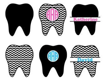Tooth SVG, Tooth Monogram SVG, Teeth SVG, Dentist Tooth Svg Cut Files, Dentist Cutting File, Silhouette Files, Cricut Files, Dxf, Eps, Png.