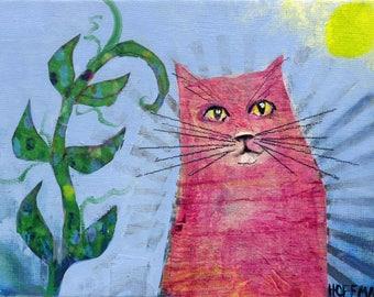 Whimsical art, cat art, original art, whimsical animal art,  kids room art, nursery art, one of a kind art, oil painting, cat lover gift