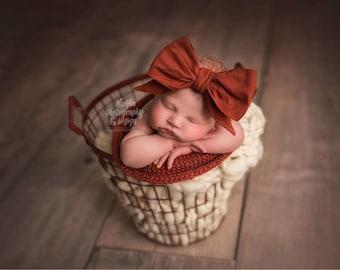 CINNAMON Gorgeous Wrap- headwrap; fabric head wrap; burnt orange head wrap; boho; newborn headband; baby headband; toddler headband