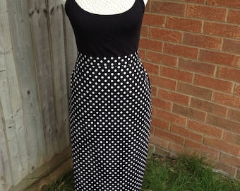 1950s retro vintage style pencil wiggle skirt, UK size 16, black and white polka dot rockabilly pin up straight  fifties reenactment skirt