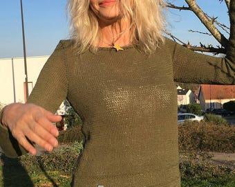 Khaki sweater 100% cotton