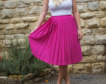 Polka dot pink Vintage high waisted skirt