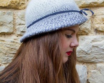 Winter blue and cream vintage hat