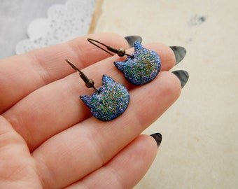 Cat Earrings Cat jewelry for gift daughter Dark Blue earrings Tiny earrings for girls Nebula jewelry for sister gift Galaxy earrings Cosmic