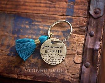 Forever a Mermaid hand stamped keychain | boho bohemian gift beach ocean scales