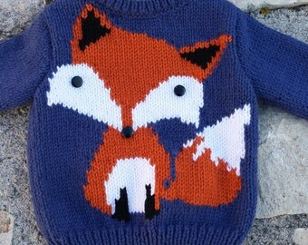 Child's sweater hand knitted boy Fox 18 months to 6 years