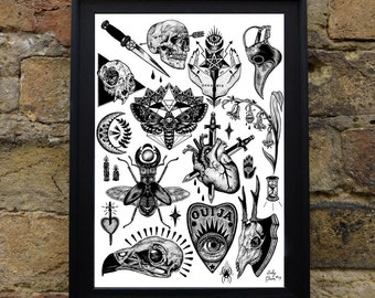Occult A3 Illustrated Sheet - Tattoo - Flash