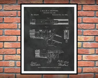 Browning Winchester Model 1886 Lever Action Rifle Patent Print Invented by Browning in 1884 - Fire Arm Decor - Gun Collector - NRA Decor