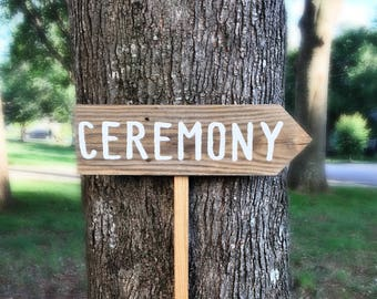 Wedding Ceremony Sign, Wooden Wedding Signs, Rustic Wedding Sign, Wedding Arrow Sign, Wood Wedding Sign, Wedding Signage, Directional Sign