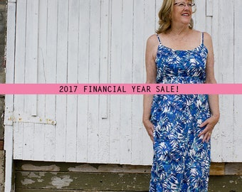 SALE 100% Cotton Summer Palm Print Maxi Dress with Adjustable Straps. Australian Made.