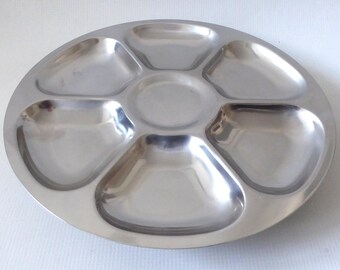 Danish Lazy Susan, Lundtofte Denmark. Round stainless steel hors-d'oeuvres/nibbles/dips serving tray/dishes, 70s retro. Modernist, food