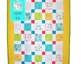 Novelty Nine Patch Baby Quilt Kit - Handmade Quilt, Easy Quilt, Quilt Project, Charm Square Quilt