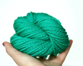 "Handspun Yarn - ""Mermaid"" - Turquoise Green Yarn - Merino Wool Yarn - Worsted Yarn - Felicity Yarn"