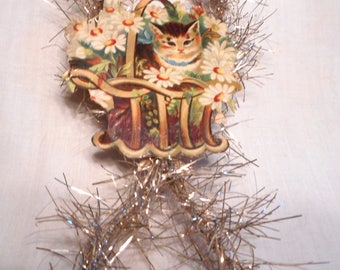 Antique SCRAP & TINSEL Kitten in a Basket Handmade Ornament, Gift Tag, Christmas Decoration OOAK