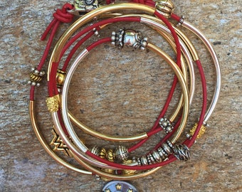 Wonder Woman Leather Wrap Bracelet