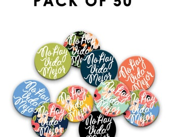 Pack of FIFTY (50) Pin Badges - SPANISH No Hay Vida Mejor 38 mm/1.5 inch, Jehovah's Witnesses, JW Gift, Pioneer School Gift, jw.org pins