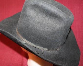 Vintage American Hat Company Men's 3X Western Fur Felt  Hat Black Size 7 1/4 58cm