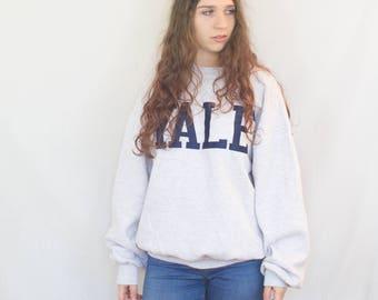 Sweatshirt Vintage Yale College Sweater Grey Blue