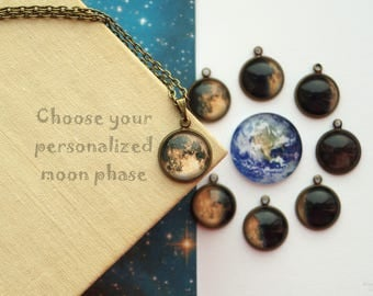 Custom Birth Moon Necklace, Personalized Yellow Moon Phase Tiny Pendant, Birthday Moon Gift for Girlfriend, Lunar Eclipse Jewelry Moon Cycle