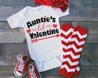 Aunties Lil Valentine Bodysuit or T-Shirt for Baby Toddler Kid Newborn Babies Shower Coming Home Gift Idea Top Creeper Present Cute Day