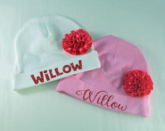 Personalized Name Cap for Baby Girl Hat with Flower 0-6 Months Newborn Infant Cute New Baby Shower Gift Idea Coming Home Bonnett Head Cover