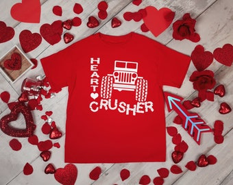 Heart Crusher 4x4 Adventure Boys Valentines Red Rabit Skins 2T 3T 4T Shirt Toddler Kid T Shirt Top Tee T-Shirt Birthday Holiday Gift Idea