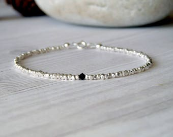 Thin mens silver bracelet. Unisex bracelet with pure silver nuggets and black Swarovski crystal. Tennis bracelet. Gifts for him