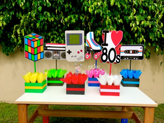 I love the 80s birthday bash party centerpieces 80s party for 80s decoration ideas
