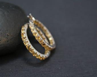 Silver Yellow Gemstone Hoop Earrings, Gemstone Hoop Earrings, Yellow Earrings, Yellow Gemstone Jewelry, Silver Hoop Earrings
