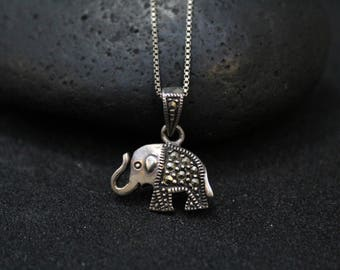 Sterling Silver and Marcasite Elephant Necklace, Sterling Elephant Pendant, Sterling Silver Elephant Jewelry, Sterling Elephant Necklace