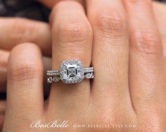 2.82 ct.tw Art Deco Set Ring-Art Deco Bridal Set Ring-Asscher Cut Diamond Simulant-Art Deco Wedding Set Ring-Solid Sterling Silver [61926-2]