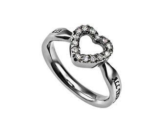 "CZ Open Heart Ring ""Christ My Strength"""